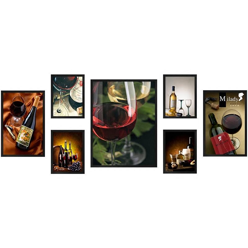 欧式美式餐厅有框 竖版装饰画酒杯红酒客厅复古 酒瓶酒杯挂画墙画