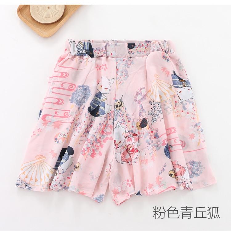 夏季人棉女士睡裤短裤薄款宽松裤裙纯棉人造棉家居裤棉绸沙滩裤
