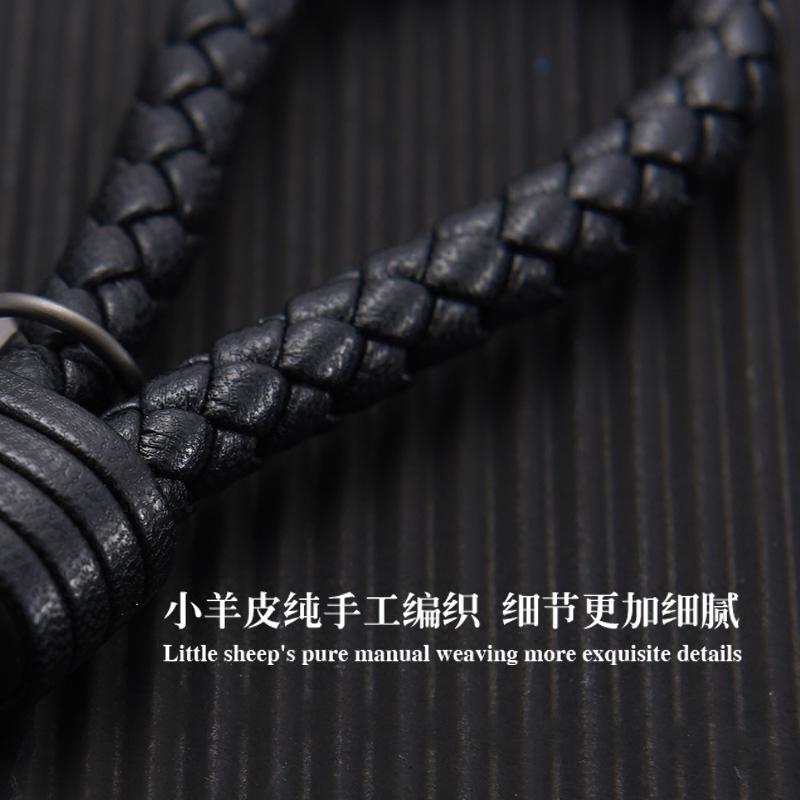 真皮编织绳钥匙扣男女情侣腰挂件韩国可爱创意包包汽车钥匙链扣圈