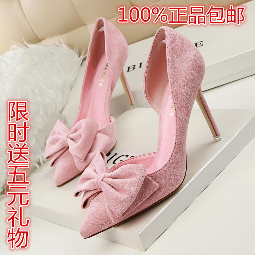 2019春秋新款女鞋韓版甜美蝴蝶結粉色婚鞋淺口細跟單鞋尖頭高跟鞋