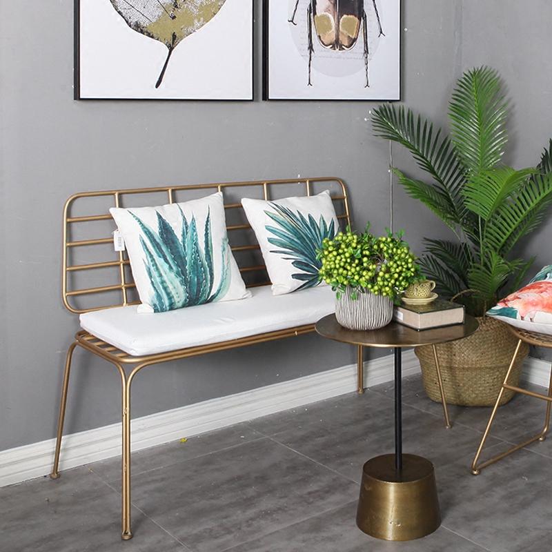 北欧金色铁艺沙发ins网红沙发简约现代咖啡厅服装店双人座椅组合