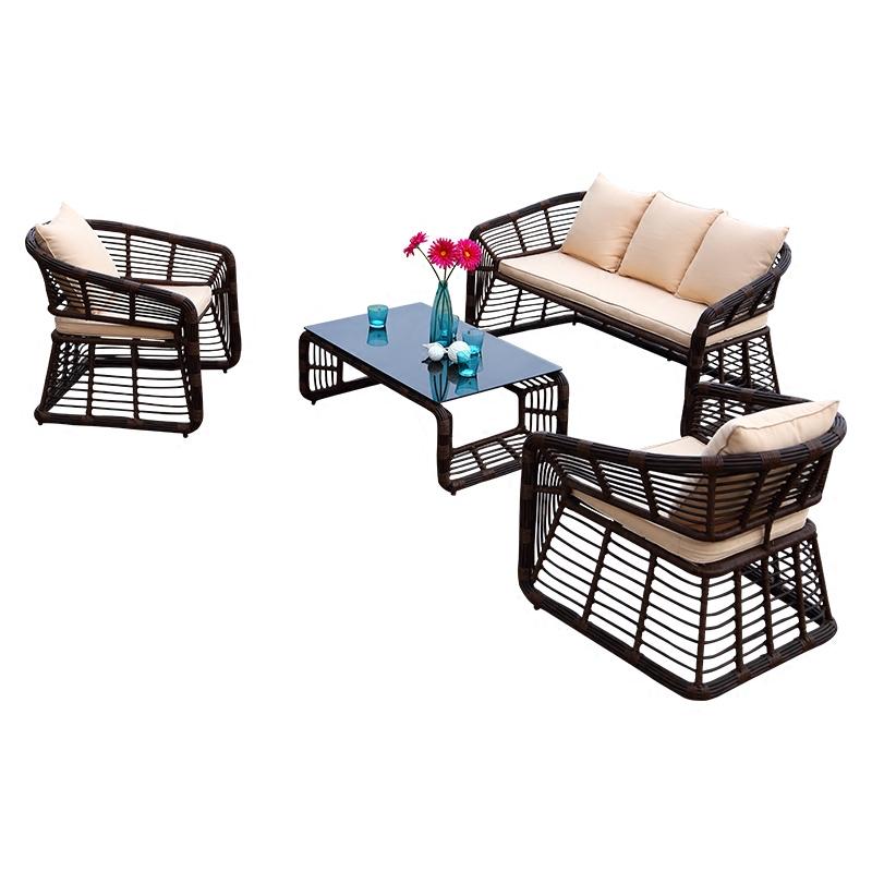 紫叶户外家具沙发椅组合整装小户型简约现代编藤休闲椅阳台小沙发