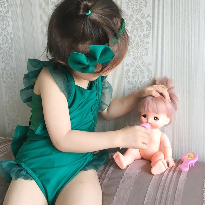 女童连体泳衣公主新款 韩国儿童中大童游泳衣女孩温泉宝宝比基尼