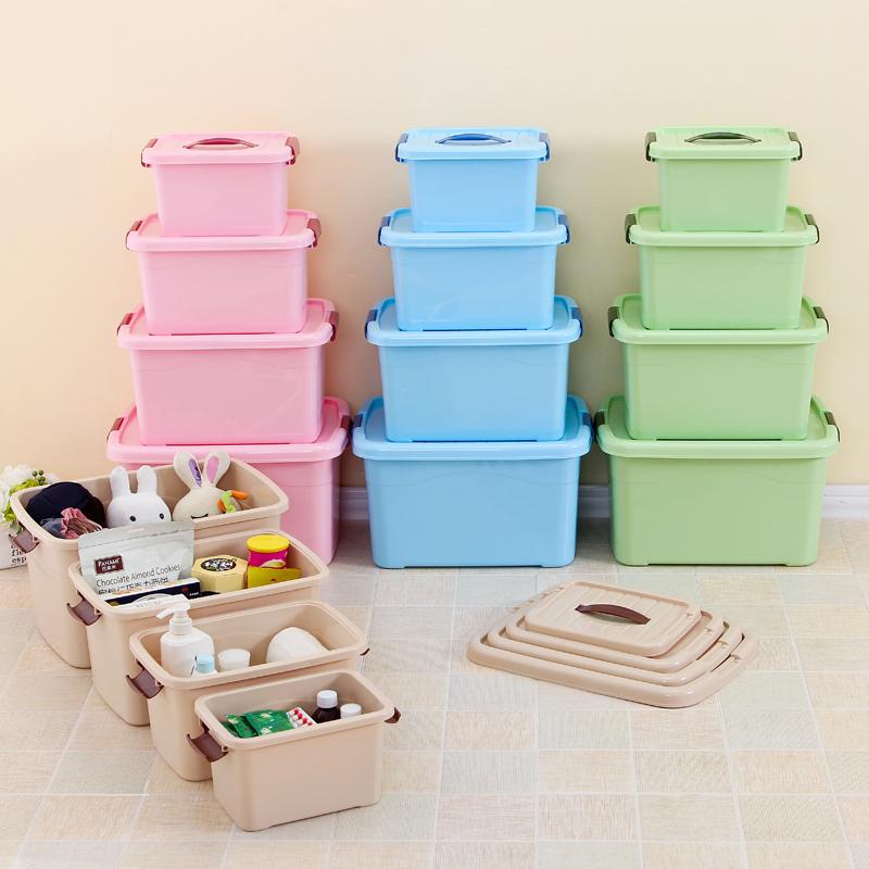 拾美加厚塑料收納盒透明有蓋收納箱大中小號食品玩具儲物箱整理箱