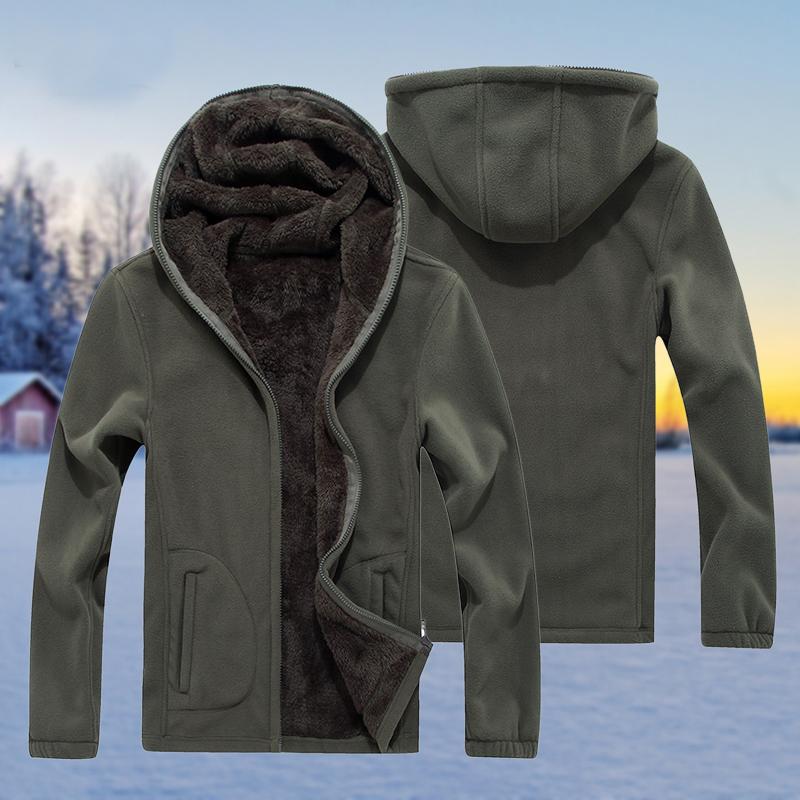户外抓绒衣男冬季加绒加厚冲锋衣内胆连帽卫衣大码摇粒绒保暖外套