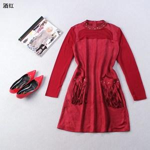 [秒杀清仓] 101886 圆领拉链长袖单件铆钉纯色连衣裙
