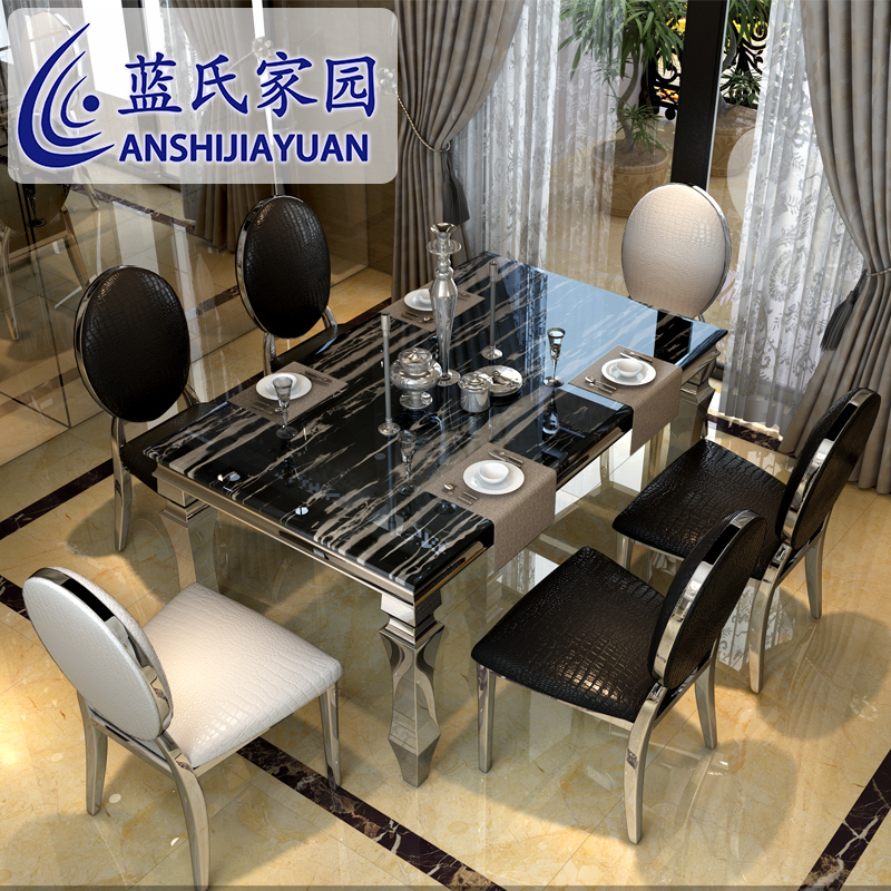 Delightful Buy After Blueu0026#39;s Marble Dining Table Dinette Combination Of Modern  Minimalist Stainless Steel Glass Dining Table Dining Table Continental In  Cheap Price ...