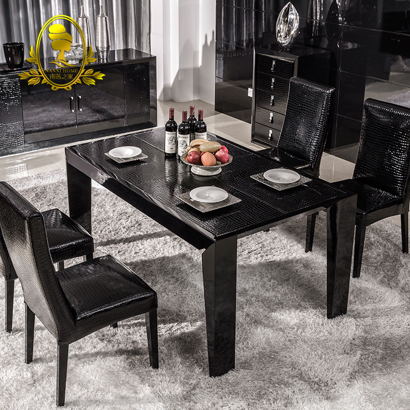Buy After The Modern Dining Table Black Paint Wood Dining Table Minimalist Modern Dinette Table And Four Chairs Combination Of Neoclassical In Cheap Price On Alibaba Com