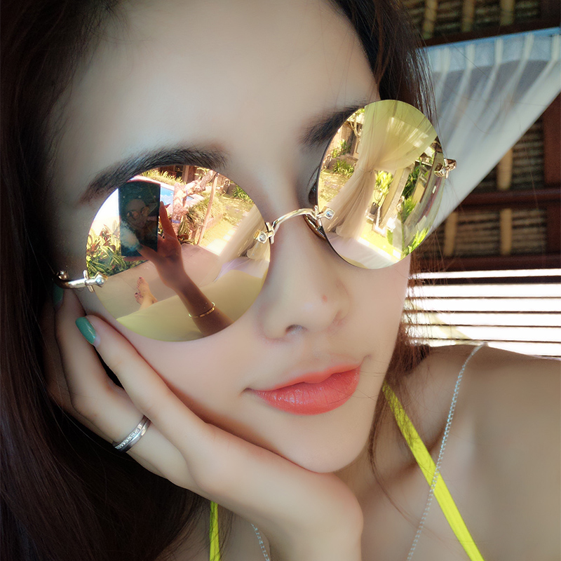 d7bc18c6a1 Ai sige female sunglasses 2016 star models round frame sunglasses retro  sunglasses influx of people male peppers m Home