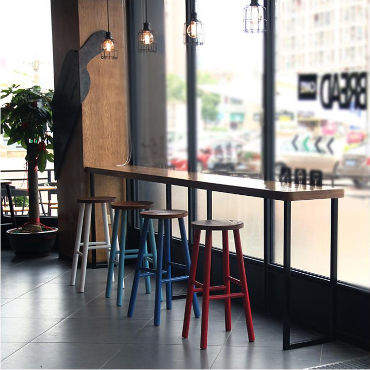 Buy American Country Wrought Iron Cafe Tables And Chairs Solid Wood Bar  Table Against The Wall Window Bar Tables Tall Bar Tables And Chairs  Combination In ...