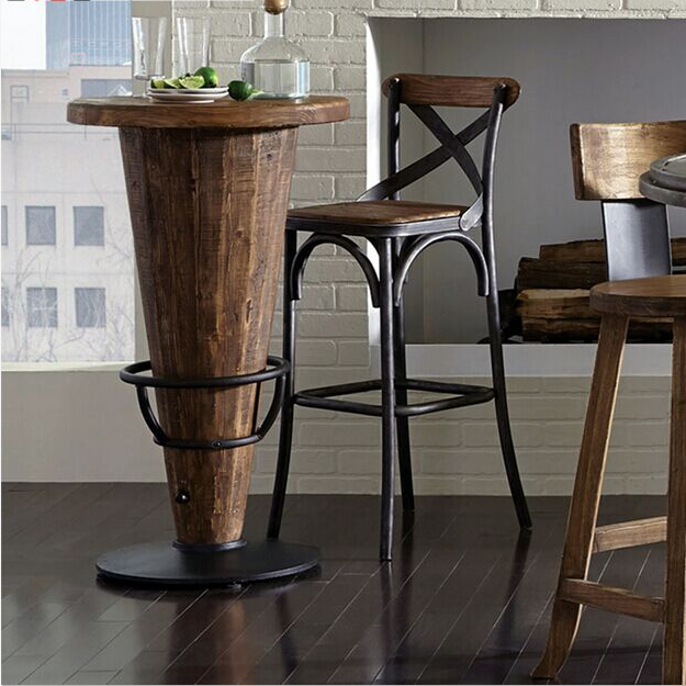 Buy American Iron Loft Wood Long Table Bar Tables And Chairs - Long bar table with stools