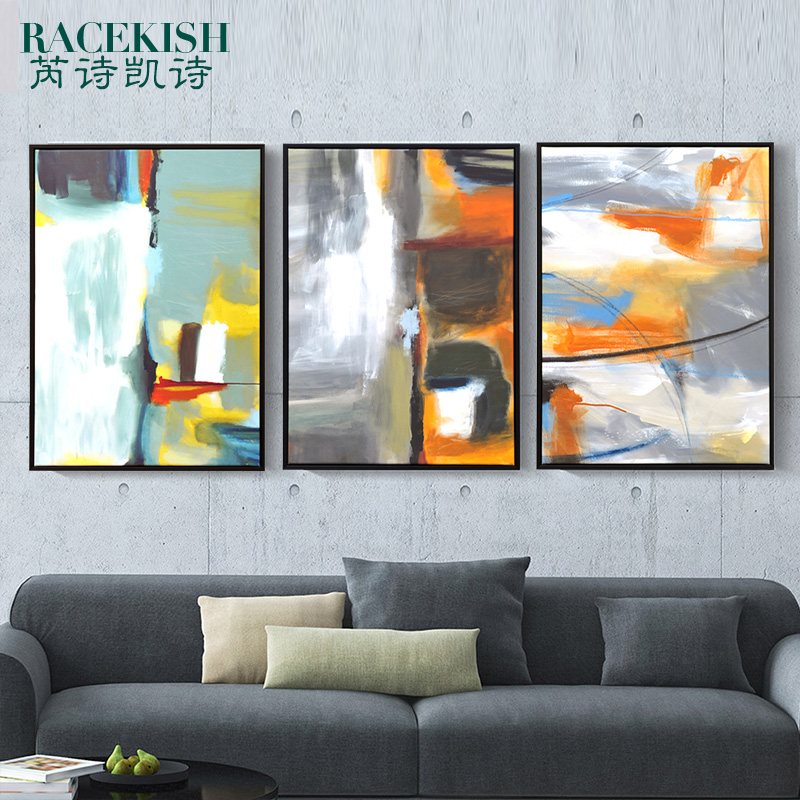 American Retro Living Room Decorative Painting Abstract Art Paintings Triptych Company Hotel Clubs In Price On