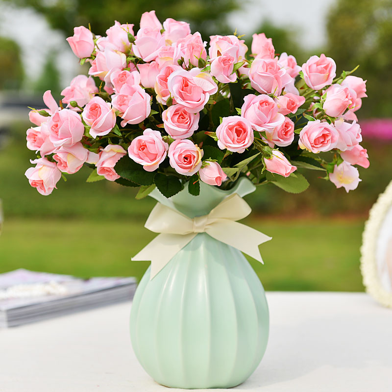 Artificial Flowers Plastic Suit The Living Room Home Decorations Ornaments Fl Table Roses Silk Free Shipping In