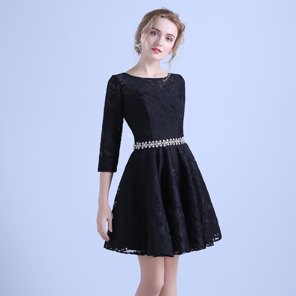 9e16ae6ed5a Associating vatican na sleeve black lace short section of small dress  little black dress little black dress party banquet evening dress lace  princess skirt