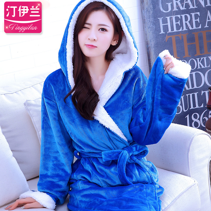 Buy Autumn and winter thick flannel long sleeve pajamas nightgown women  tracksuit coral velvet bathrobe bath suit female hooded sweet in Cheap  Price on ... 6dfa2a7ed