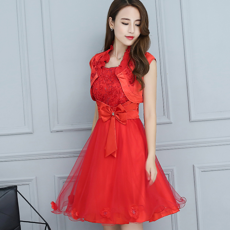 Buy Autumn new engagement toast the bride dress wedding dress red ...