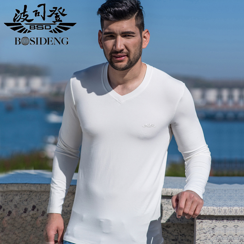 3dbfb681 Bosideng autumn clothes new long sleeve t-shirt men thin section v-neck  solid color casual clothes big yards slim bottoming shirt t-shirt