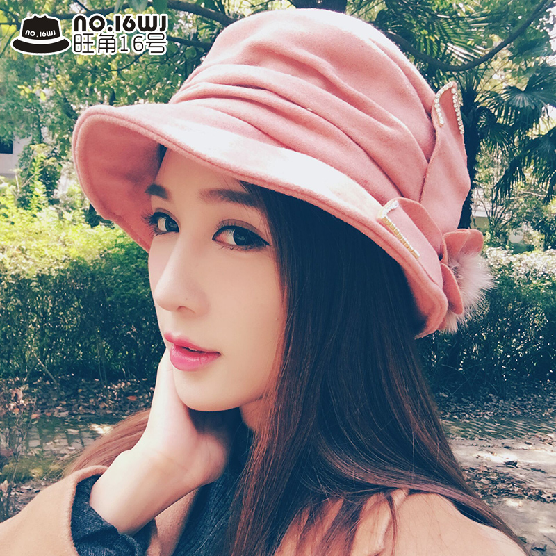50a0b3ab52d New winter woolen hat bucket hat lady hat korean version of casual bow dome hat  fashion hat
