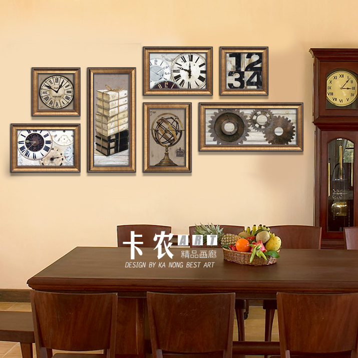 Canon 2015 New European American Living Room Framed Painting Decorative Retro Clock Group In Photo Wall