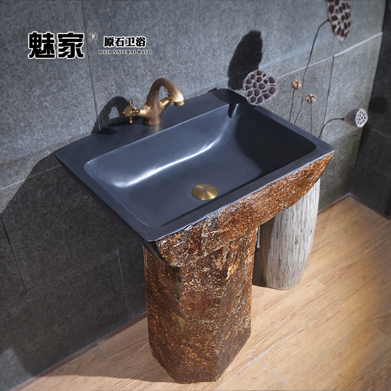 Charm Home Integration Pedestal Basin Floor Balcony Outdoor Patio Stone Art Wash  Basin Bathroom Sink Counter Basin