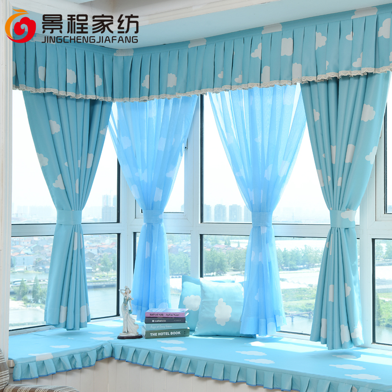 Children\'s cartoon custom full blackout curtains bedroom windows and  balcony floor curtains yarn clouds blue sky white clouds
