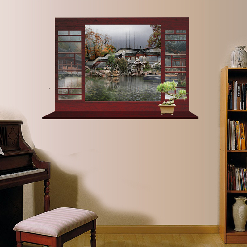 Chinese Large Landscape Murals Fake Window Wall Stickers Film To The Gl Hotel Restaurant Bar In Price On M Alibaba