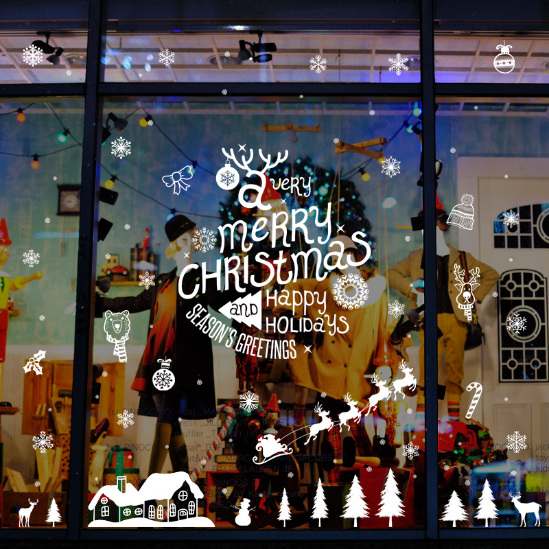 Buy Christmas decorations arranged storefront shop window sticker glass  wall stickers window stickers door stickers affixed adhesive wall sticker  wallpaper ... - Buy Christmas Decorations Arranged Storefront Shop Window Sticker
