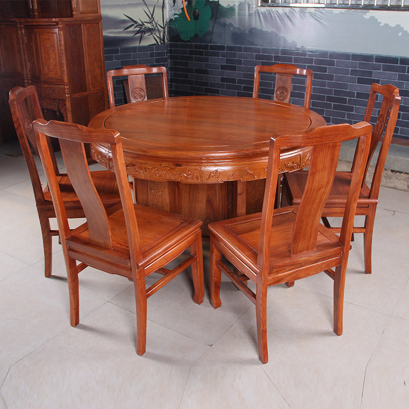 Clical Mahogany Furniture Dining Tables And Chairs Round Table Turntable Solid Wood