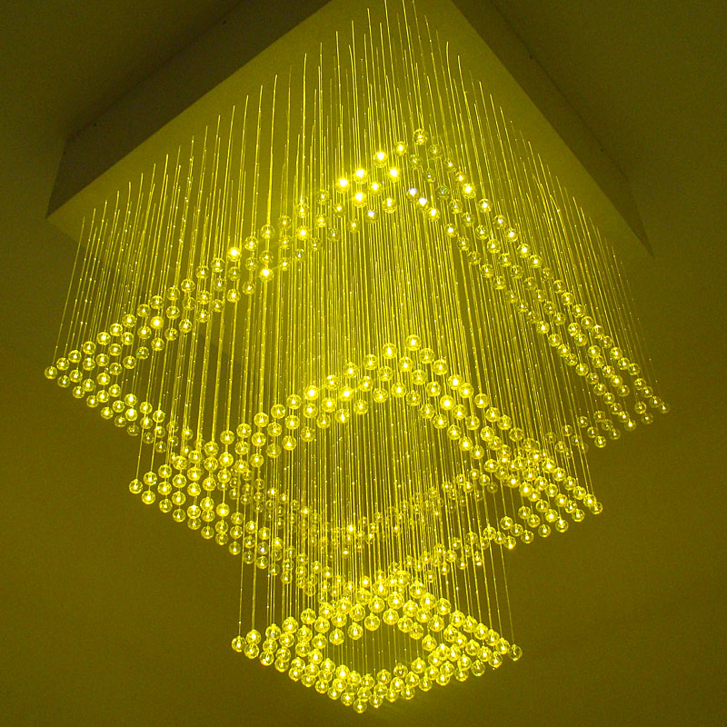 Colorful Led Fiber Optic Chandelier Hanging Three Crystal Square Can Be Set To Do Diffe Effect Size In