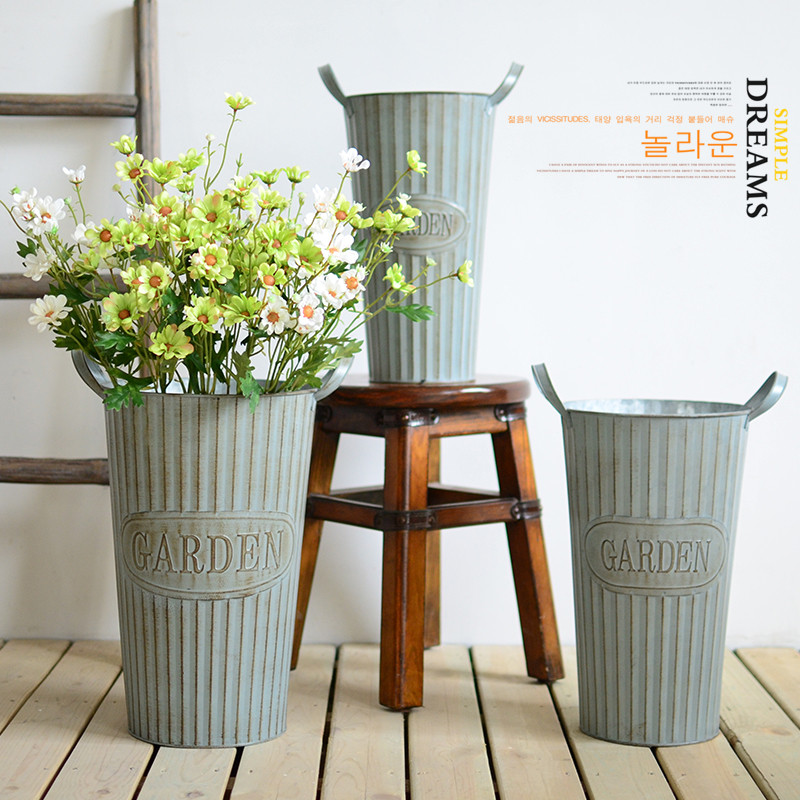 Buy Corrugated Metal Flower Bucket Small Fresh American Country