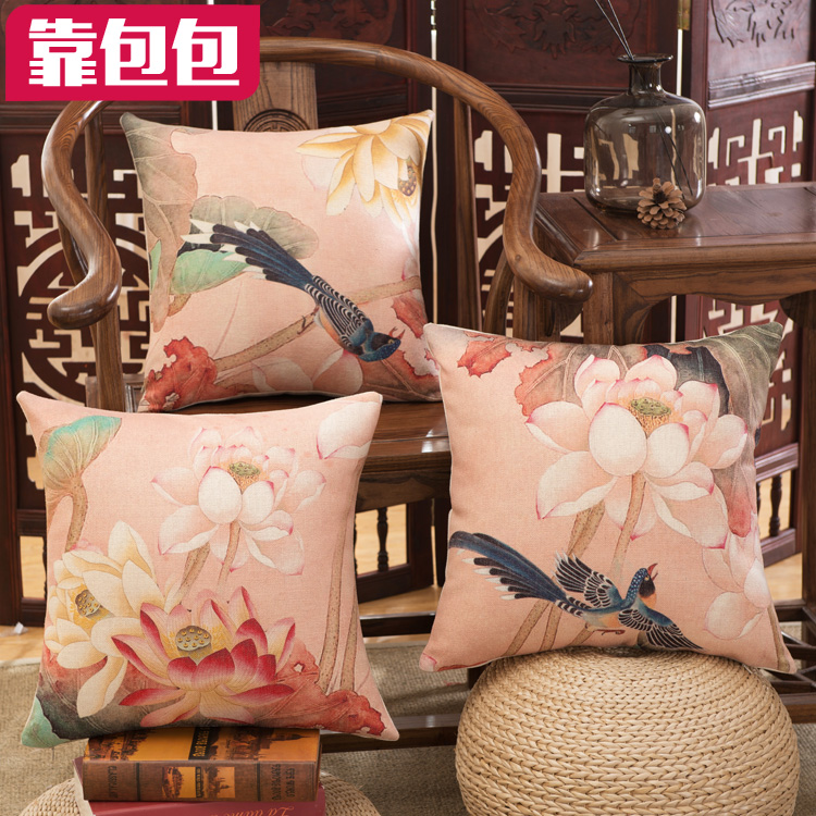 Amazing Buy Cotton Bags By New Chinese Lotus Linen Pillow Cushion Andrewgaddart Wooden Chair Designs For Living Room Andrewgaddartcom