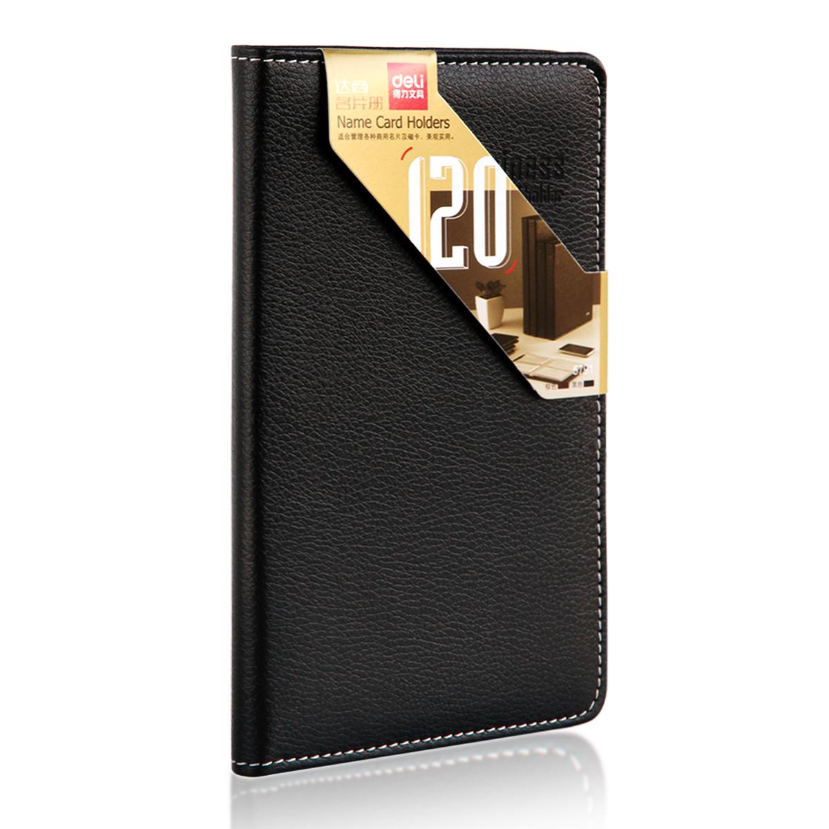 Buy Deli 5791 senior business card book hardcover 120 leather ...
