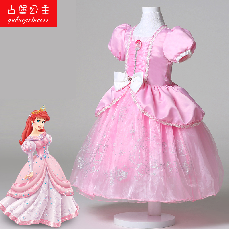 3881b9d00d703 Yungli disney mermaid ariel children girls dress pink princess dress tutu  skirt for children to play out dress