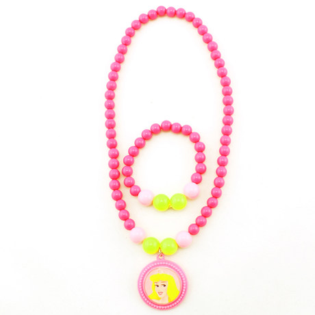 Disney Princess Children S Necklace Bracelet Set Gifts Candy Colored Baby Jewelry Accessories