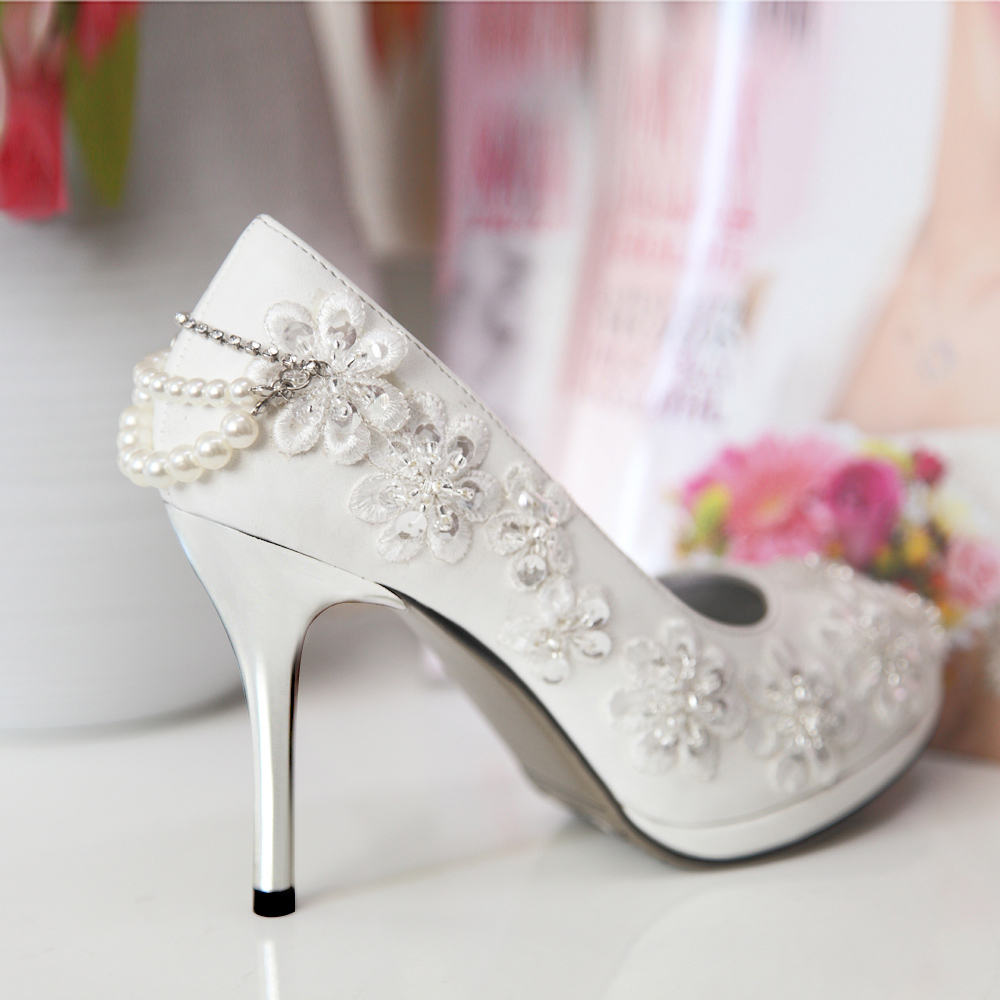 Buy Door of the bride wedding shoes 2016 new white lace bridal shoes ...