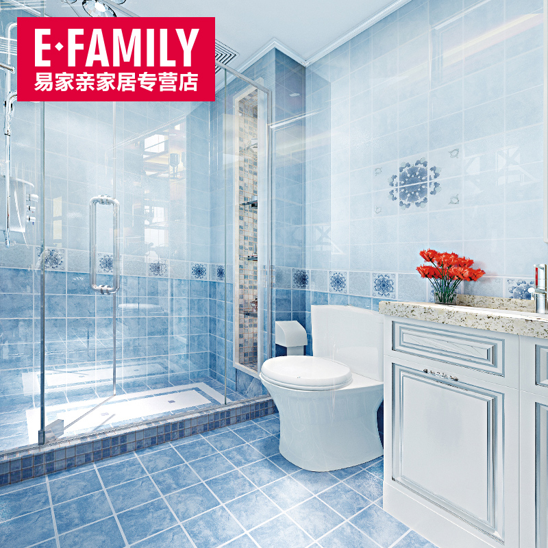 Buy Easy home kiss blue plaid kitchen and bathroom floor tiles wall ...