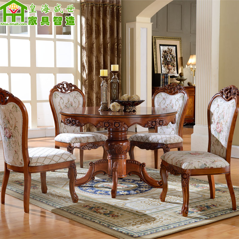 Buy European Solid Wood Dining Table Large Round Table Dinette Combination  Of Oak Dinette Table Round Dining Table American Dining Table Dining Table  In ...