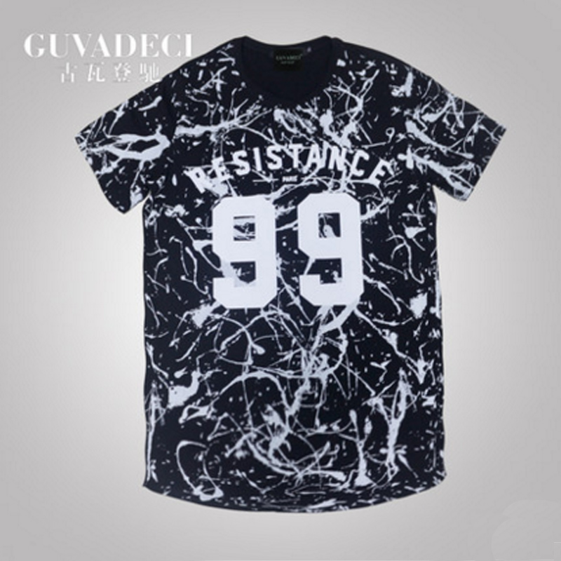 1064d31de27 Guvadeci chi gu wadeng spring and summer thin section of black and white t-shirt  t-shirt wide songane fertilizer to increase the hip-hop hip-hop t-shirt