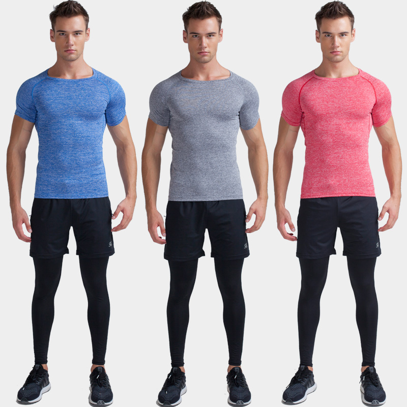 bd979154a4613 Buy Gym tights workout clothes men suit three sets of breathable wicking  short sleeve sports basketball training suit in Cheap Price on m.alibaba.com