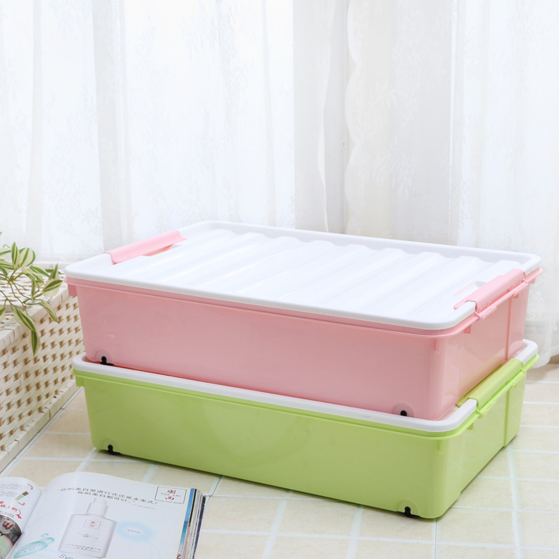 Buy Home Clothes Quilt Toy Storage Box Under The Bed Plastic Storage Box  Dust Seal Sliding Door Wheel Pulley Sorting Box Glove Box In Cheap Price On  ...