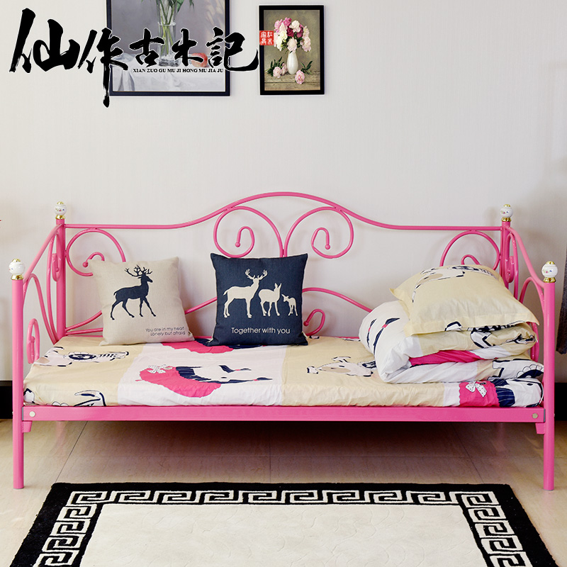 Modern Wrought Iron Steel Wooden Bed