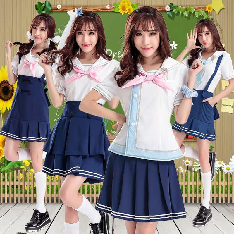 beea6b74b9 Japan and south korea uniforms anime cosplay female summer dress uniform  navy sailor suit pleated skirt suit