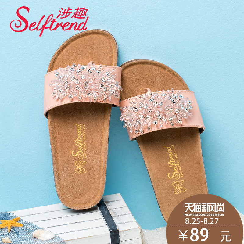 8adf62f6a Buy Interest involving 2015 new summer sandals and slippers women rhinestone  decoration thong sandals women flat sandals and slippers cork bottom in  Cheap ...