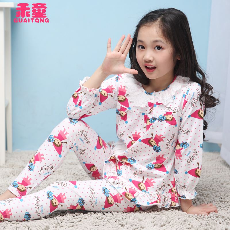 f91d9cfb64 Buy Kids children  39 s cotton pajamas girls underwear thin section qiuyi  autumn pants suit female baby girl long sleeve tracksuit in Cheap Price on  ...