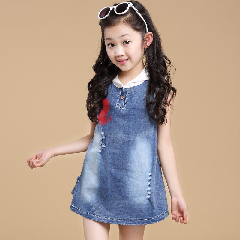 c6aa27c1379 Buy Kids girls denim skirt strap dress children dress in spring and summer  2016 korean version of the influx of spring and autumn models big virgin  skirt in ...