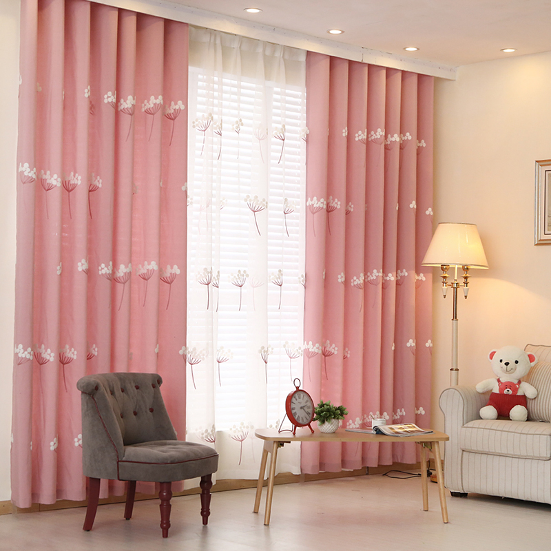 Buy Korean garden pink cotton embroidered curtains finished ...