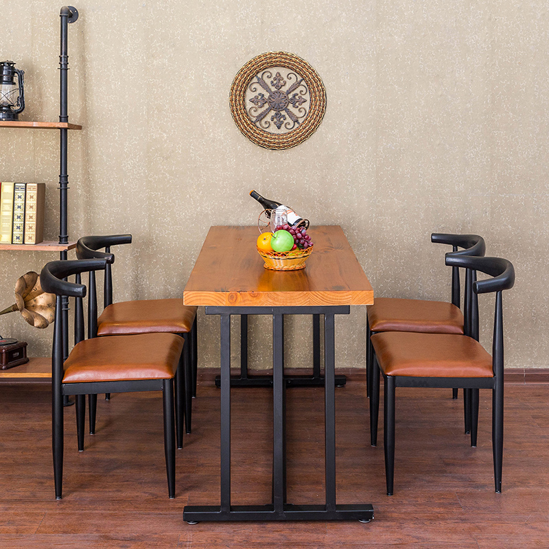 Loft American Vintage Wrought Iron Dining Table Solid Wood Tables And Chairs Combination Of Computer Desk Conference