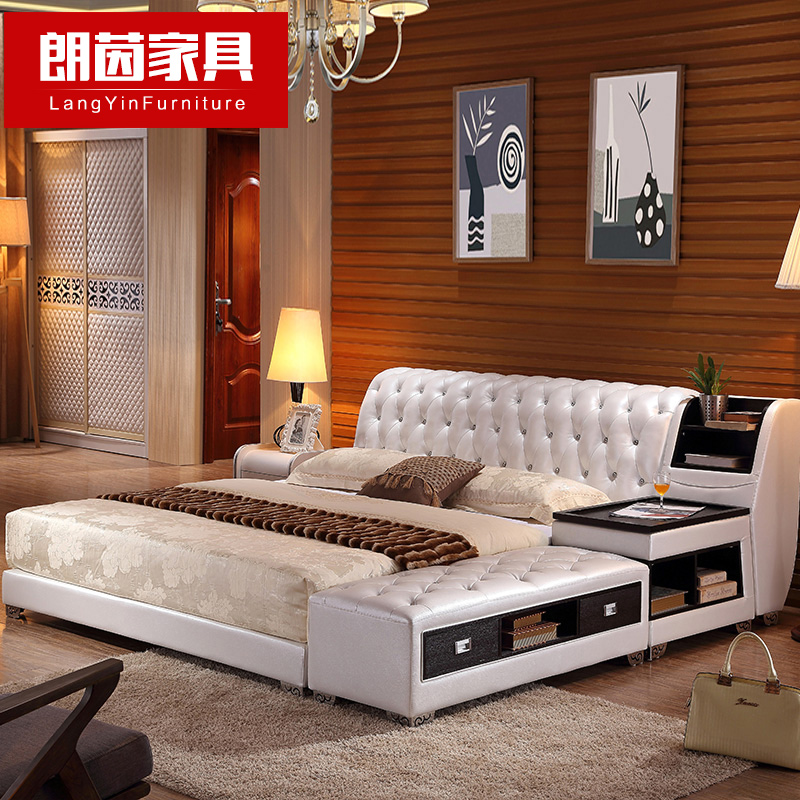 Buy Long Yin Large Size Leather Bed Leather Bed Double Bed ...