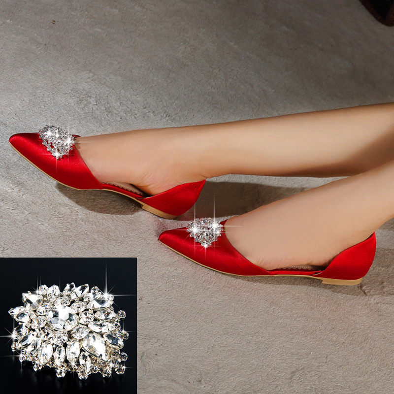 Rhinestone Scalloped Luxury Wedding Shoes With Middle Heels Or