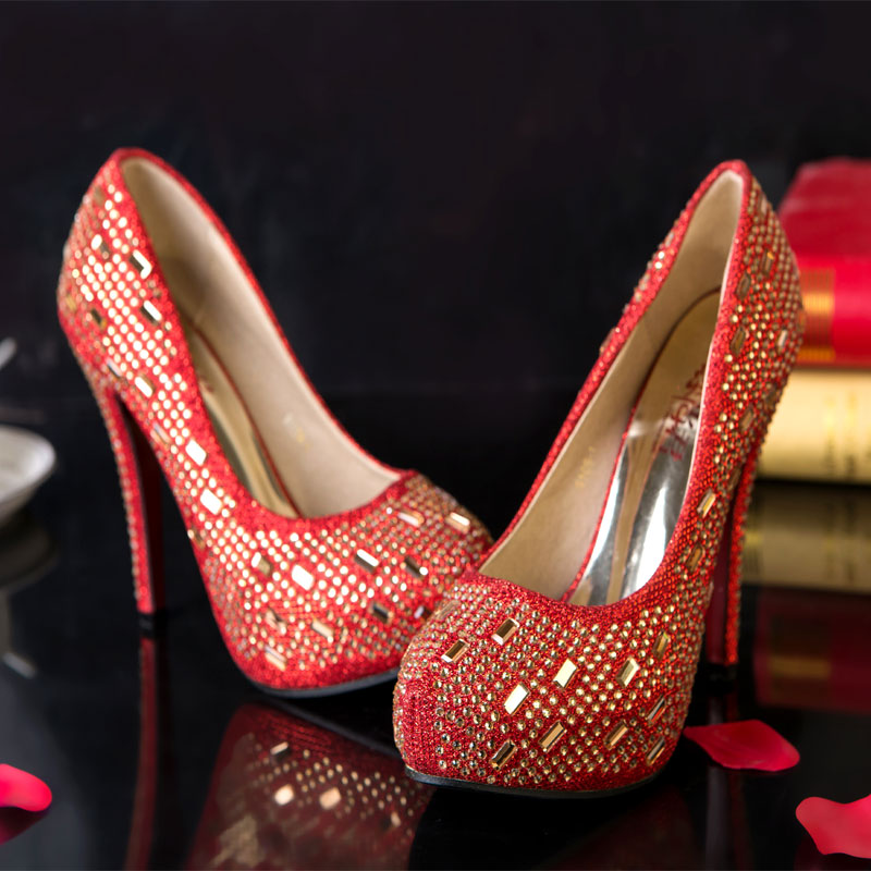 Love is still king xia chinese red high heels wedding shoes bridal shoes  women s singles shoes fine with bow pointed diamond shoes wedding shoes  wedding ... b457a2bb5573